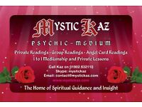 hi my name is kaz and I'm a psychic medium, i do private readings, house parties call 01902 632110