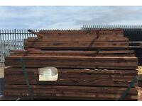 Brown treated fence slats