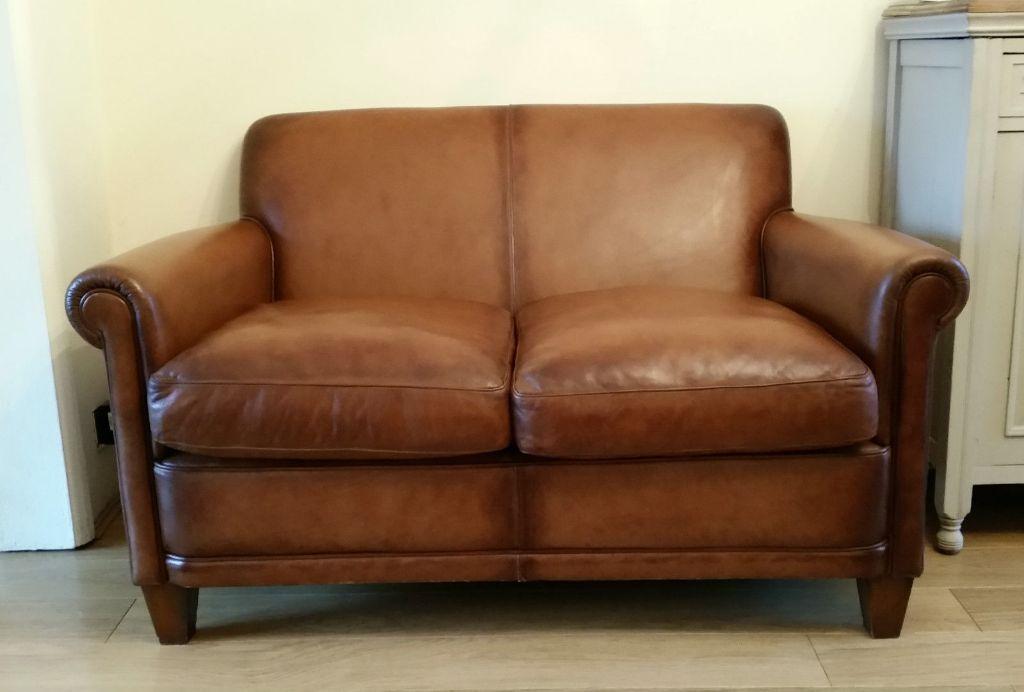 Laura Ashley Distressed Tan Brown Leather Burlington Sofa Rrp 1700 Bfuw3e6m