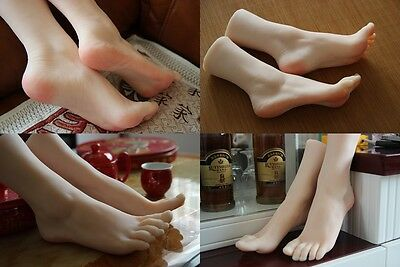 1 Pair Silicone Lifelike Female Mannequin Foot Display Shoes And Socks Size35-36