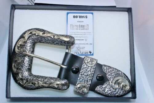 New/Box Montana Silversmiths 3 Pc Buckle Set Antiqued Scroll  Gorgeous Buckle