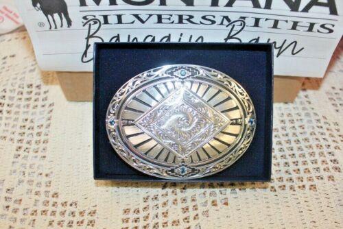 DEFECT W  Box Montana Silversmiths Belt Buckle South West Design w~ Blue Stones