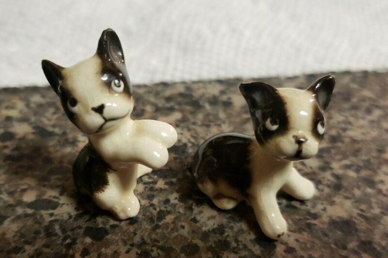 """Set of 2 Vintage Boston Terrier Miniature Figurine Sitting 1.25"""" Mini Dogs Pups"""