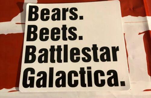 Bears Beets Battlestar Galactica Sticker - Free Shipping - $4.95