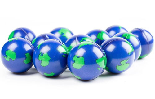 """3 PACK  EARTH WORLD GLOBE STRESS  BALLS, SQUEEZE TOYS,  2"""" HAND EXERCISE BALL"""