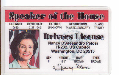 Nancy Pelosi Speaker Of The House  The United States Of America Drivers License