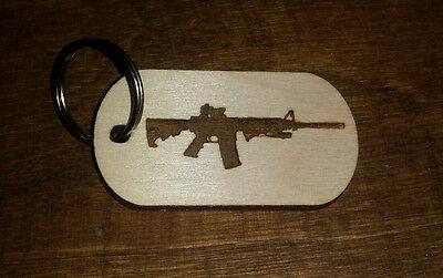 Wood dog tag, keychain, ar15