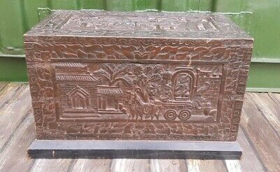 Antique Indonesian Carved Dark Wood Trunk early 20th century