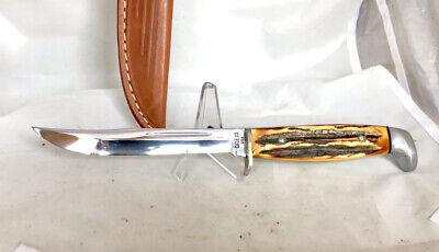 Case XX USA 516-5 Fixed Blade Knife, Stag W/ Sheath, 1965-69, Near Mint!!
