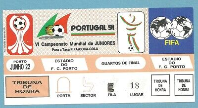 TICKET   WORLD CUP JUNIORES  PORTUGAL  1991   22/6/1991  1/4 fin