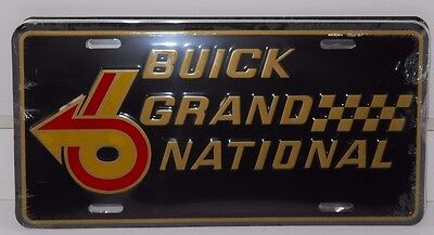 BUICK GRAND NATIONAL W/6 LOGO ALUM LICENSE PLATE  BLACK RED GOLD MADE IN USA GM