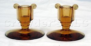 Amber-Smoke-Tinted-Clear-Molded-Glass-Candlestick-Holders-Set-of-2