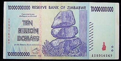 1 x Zimbabwe 10 Billion Dollar banknote -paper money currency