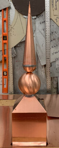 """27"""" Copper Ball and Horn Finial Roof Top Ornament"""