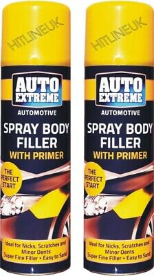 2 x 200ml Auto Car Body Filler Spray High Build Scratch Remover Putty Paint Can