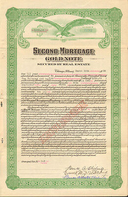 Second Mortgage Gold Note > 1928 Chicago Illinois real estate certificate