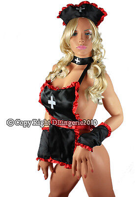 Matching Womens Halloween Costumes (Sexy Women Black Nurse Lingerie Costume Halloween + matching Headdress &)