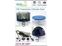13ft Trampoline Bundle with-Safety Net,Ladder&Tent