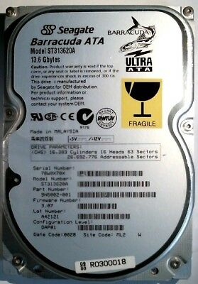 Ide Ultra Ata-100 Festplatte (13 GB Seagate Barracuda ATA ST313620A FW 3.11 IDE Ultra ATA/100)