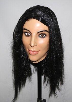 Deluxe Kim Kardashian Mask Latex Overhead Kardashians Fancy Doll Costume Female](Kardashians Halloween)