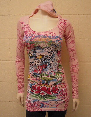 Ed Hardy Women's Hoody Tiger Rose L/S Tunic (XS) NWT Ed Hardy New Tiger