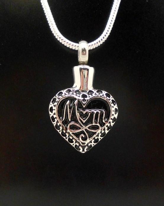 Mum Silver Love Heart Mother Design Keepsake Cremation Memorial Urn Pendant NIB