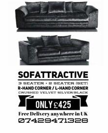 Sofa black 3 seater + 2 seater