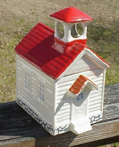 House of Webster Red Roof School House Cookie Jar with Bell - USA