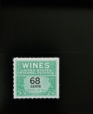1951-54 68c U.S. Internal Revenue Cordial & Wine, Green Scott RE193 Mint F/VF NH