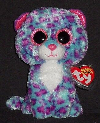 "TY BEANIE BOOS - DREAMER the 6"" SNOW LEOPARD (JUSTICE EXCLUSIVE) -  CREASED TAG"