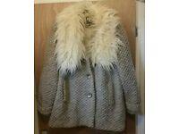 river Island coat 16 fur collar