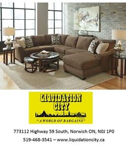 Oversized Comfy Polyester Sectional w/Throw Pillows - BRAND NEW!