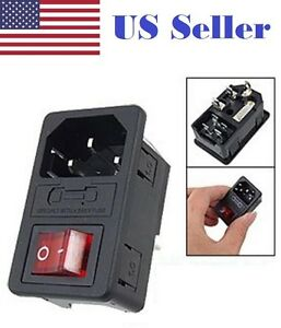 Sodial(R) Inlet Male Power Socket with Fuse Switch 10A 250V 3 Pin IEC320 C14 AD