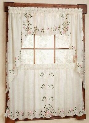 Rosemary Embroidered Floral Kitchen Curtain Collection - Rose {Brand NEW} Floral Collection Rose