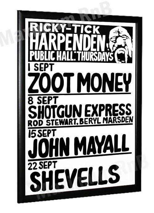 John Mayalls Bluesbreakers Concert Poster Ricky Tick Harpenden 1966