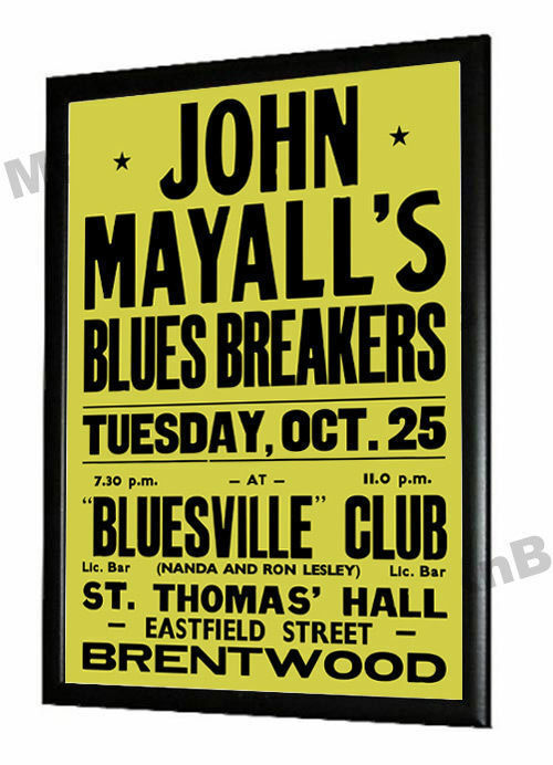 John Mayalls Bluesbreakers Concert Poster Bluesville Club Brentwood Essex 1966