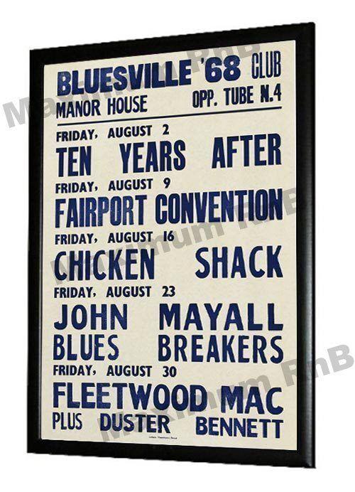 John Mayalls Bluesbreakers Concert Poster Bluesville Club Manor House London