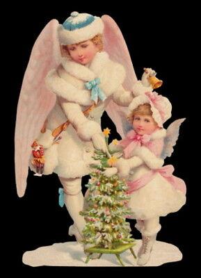 Glanzbilder  Oblate Zwei Schnee Engel Weihnachten Bildkarte  ef Nr.5171