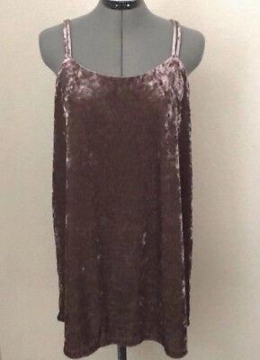 NEW NWT $128 ANTHROPOLOGIE DARK PINK CRUSHED VELVET STRAPPY SLIP DRESS RARE XL