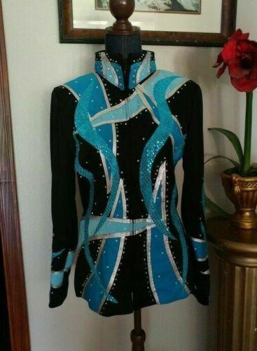 Ladies Western Showmanship Jacket Turquoise Silver Black Zip 16/1X/XXL GUC