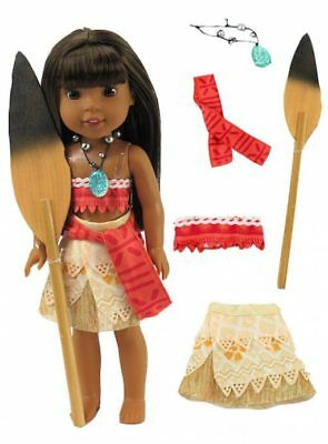 Moana Halloween Outfit for 14 in Wellie Wishers Doll American Girl Clothes (Doll Outfits For Halloween)