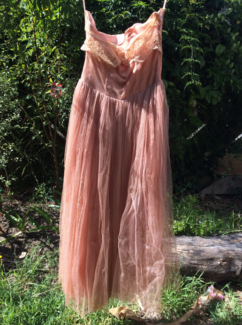 1950s gown tulle strapless light pink dress