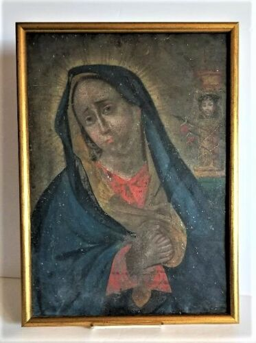 Antique 1850's Spanish Colonial Hand Painted Retablo of the Sorrowful Mother