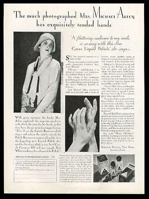 1929 Mrs Michael Arlen photo Cutex nail polish vintage print ad