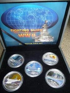 2007 Fighting Ships of World War 2 Silver Proof Coloured Coin Set Wembley Cambridge Area Preview