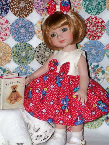 """Feedsack Red Doll Dress & Hairbow For 8"""" Vogue Ginny"""