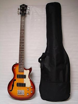 Sunburst 4 String Bass Guitar, Semi-Hollow Body /w Bag