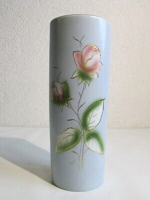 Vintage Vase Decorative Porcelain French Painted With Pink Period Xx Century