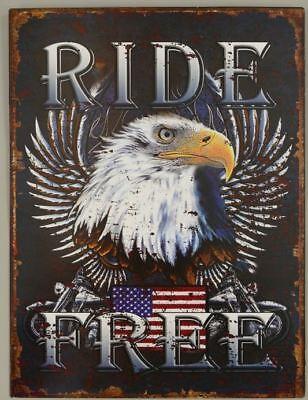 Ride Eagle (Blechschild: Ride free - Eagle USA ! 33x25 cm Vintage Retro )