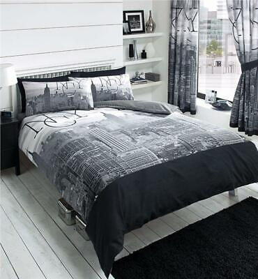 SINGLE duvet set New York city sky line buildings grey & black quilt cover set